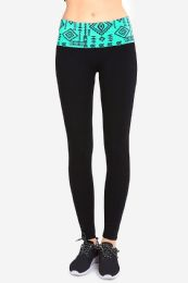 36 Units of Sofra Ladies Printed Yoga Leggings In Turquoise - Womens Active Wear