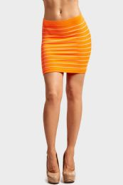 72 Units of Sofra Ladies Seamless Striped Skirt In Neon Orange - Womens Skirts