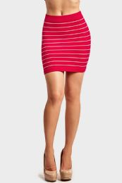 72 Units of SOFRA LADIES SEAMLESS STRIPED SKIRT IN NEON PINK - Womens Skirts