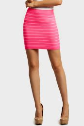 72 Units of Sofra Ladies Seamless Striped Skirt In Pink - Womens Skirts