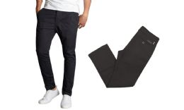 24 Units of Men's SliM-Fit Cotton Stretch Chino Pants Solid Black Size 32-32 Only - Mens Pants