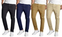 12 Units of Men's SliM-Fit Cotton Stretch Chino Pants Assorted Colors Bulk Buy - Mens Clothes for The Homeless and Charity
