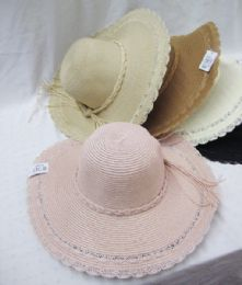 24 Units of Women's Large Brim Straw Hat Assorted Colors - Sun Hats