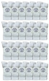 24 Units of Yacht & Smith Wholesale Kids Crew Socks, With Free Shipping , Sock Size 4-6 (White) - Boys Ankle Sock
