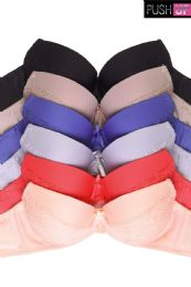 216 Units of MAMIA LADIES DEMI CUP PLAIN LACE PUSH UP BRA - Womens Bras And Bra Sets