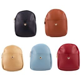 "24 Units of 7"" Backpacks Mini Leather Fashion Purse in 4 Assorted Colors - Backpacks 15"" or Less"