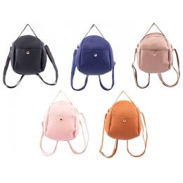 "24 Units of 7"" Backpacks Mini Pebble Fashion Purse in 5 Assorted Colors - Backpacks 15"" or Less"