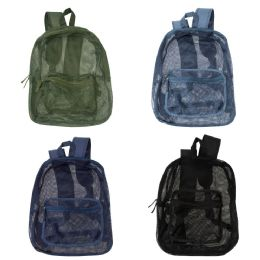 "24 Units of 17"" Mesh Backpacks in 4 Assorted Colors - Backpacks 17"""