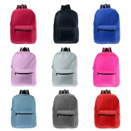 "24 Units of 17"" Kids Basic Wholesale Backpacks in 9 Assorted Colors - Backpacks 17"""