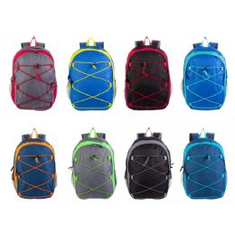 "24 Units of 17"" Bungee Wholesale Backpacks in 8 Assorted Colors - School and Office Supply Gear"