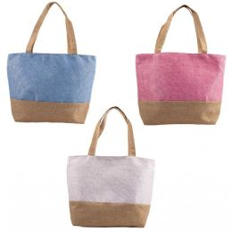 "24 Units of 18"" Large Beach Bulk Tote Bags In 3 Assorted Colors - Tote Bags & Slings"
