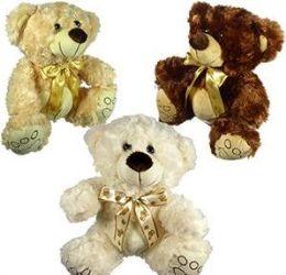 12 Units of Plush Curly Fur Bears With Paw Print Cravats - Plush Toys