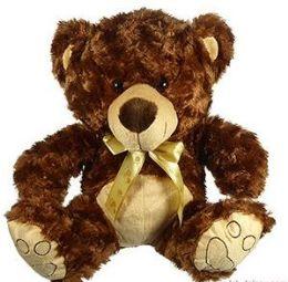 6 Units of Plush Curly Fur Bears With Paw Print Cravats - Plush Toys