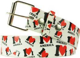 36 Units of I Love America Printed Belt - Belts