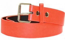 36 Units of Neon Orange Mixed Size Plain Belt - Belts