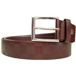 36 Units of Mens Checkered Brown Belt - Mens Belts