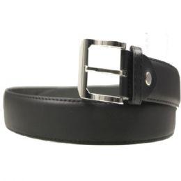36 Units of Mens Smooth Black Belt - Mens Belts