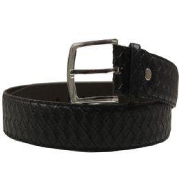 36 Units of Mens Black Belt Weave Pattern - Mens Belts