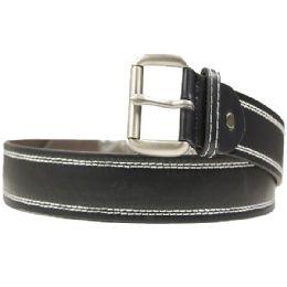 36 Units of Mens Classic Stitched Black Belt - Mens Belts