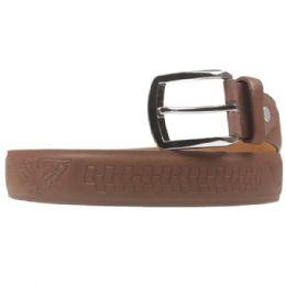 36 Units of Mens Light Brown Belt With Pattern - Mens Belts