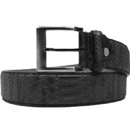 36 Units of Mens Fashion Black Snakeskin Belt - Mens Belts