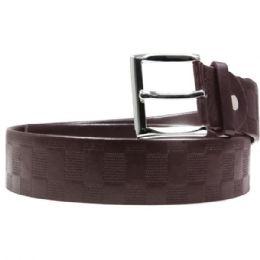 36 Units of Mens Fashion Brown Checkered Belt - Mens Belts