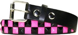 12 Units of Kids Studded Belts In Black And Pink - Kid Belts