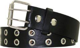 36 Units of Kids Double Grommet Punk Belt In Black - Kid Belts