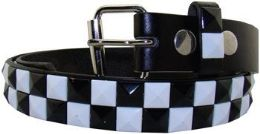 36 Units of Kids Studded Belts In Black And White - Kid Belts