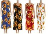 48 Units of Womens Sunflower Printed Summer Dress - Womens Sundresses & Fashion
