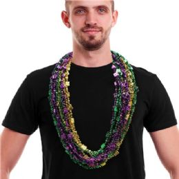12 Units of MARDI GRAS BREADED BEADS 48 INCH CARDS & DICE BEAD NECKLACED - Party Necklaces & Bracelets