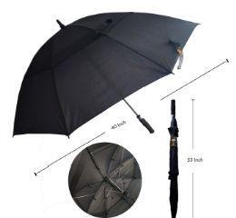 48 Units of 40 INCH BLACK ONLY UMBRELLA - Umbrellas & Rain Gear