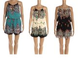 48 Units of Woman's Fashion Summer Paisley Romper Assorted Color - Womens Rompers & Outfit Sets
