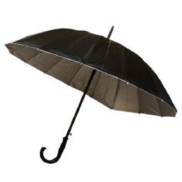 48 Units of 55 INCH BLACK ONLY UMBRELLA - Umbrellas & Rain Gear