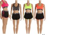48 Units of Womens Two Piece Outfits Sport Tank Tops With Short Pant Set - Womens Active Wear