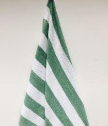 12 Units of Green Stripe Cabana Beach Towel In 100 Percent Cotton Size 30x70 - Beach Towels