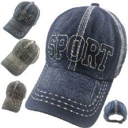 24 Units of Cotton Washed Ball Cap [SPORT] - Baseball Caps & Snap Backs
