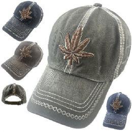 24 Units of Cotton Washed Base Ball Hat [Marijuana] - Baseball Caps & Snap Backs