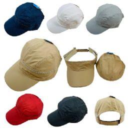 24 Units of Baseball Cap & Visor with Zipper - Baseball Caps & Snap Backs