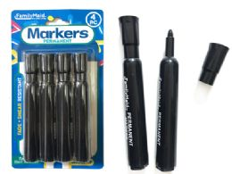 144 Units of 4pc Permanent Markers- Black Color - Markers