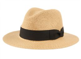 12 Units of PAPER STRAW BRAID PANAMA HATS WITH GROSGRAIN BAND - Sun Hats
