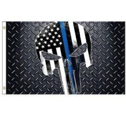 24 Units of Blue Lives Matter Flag [Skull] - Flag