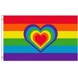 24 Units of Rainbow Flag with Rainbow Heart - Flag