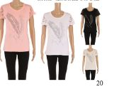 24 Units of Womens Fashion Short Sleeve Feather Tee Assorted Color - Womens Fashion Tops