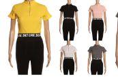 24 Units of Womens Short Sleeve Zip Tee Shirt - Women's T-Shirts