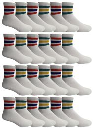 24 Units of 24 Pairs Of Yacht & Smith Wholesale Bulk Womens Mid Ankle Socks, Cotton Sport Athletic Socks - Size 9-11 (White with Stripes) - Womens Ankle Sock