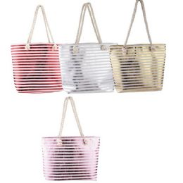 24 Units of Fashion Tote BaG-Metallic Stripes With Rope Handle - Tote Bags & Slings
