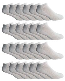 24 Units of Yacht & Smith Men's Wholesale Bulk No Show Ankle Socks, With Free Shipping - Size 10-13 (White) - Mens Ankle Sock