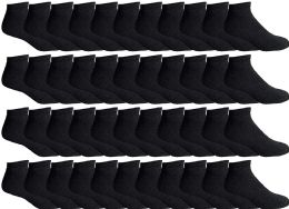 48 Units of Yacht & Smith Men's Wholesale Bulk No Show Ankle Socks,With Free Shipping - Size 10-13 (Black) - Mens Ankle Sock