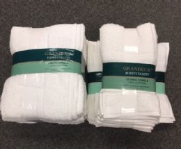 12 Units of Soft Durable Absorbent United Grandeur White Bath Towel Set - Bath Towels